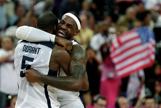 United States' LeBron James and Kevin Durant react during the men's gold medal basketball game against Spain at the 2012 Summer Olympics, Sunday, Aug. 12, 2012, in London. USA won 107-100. Photo: AP