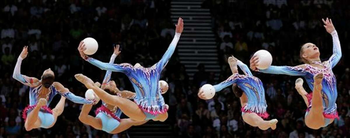 The team from Belarus performs during the rhythmic gymnastics group all-around final at the 2012 Summer Olympics, Sunday, Aug. 12, 2012, in London.
