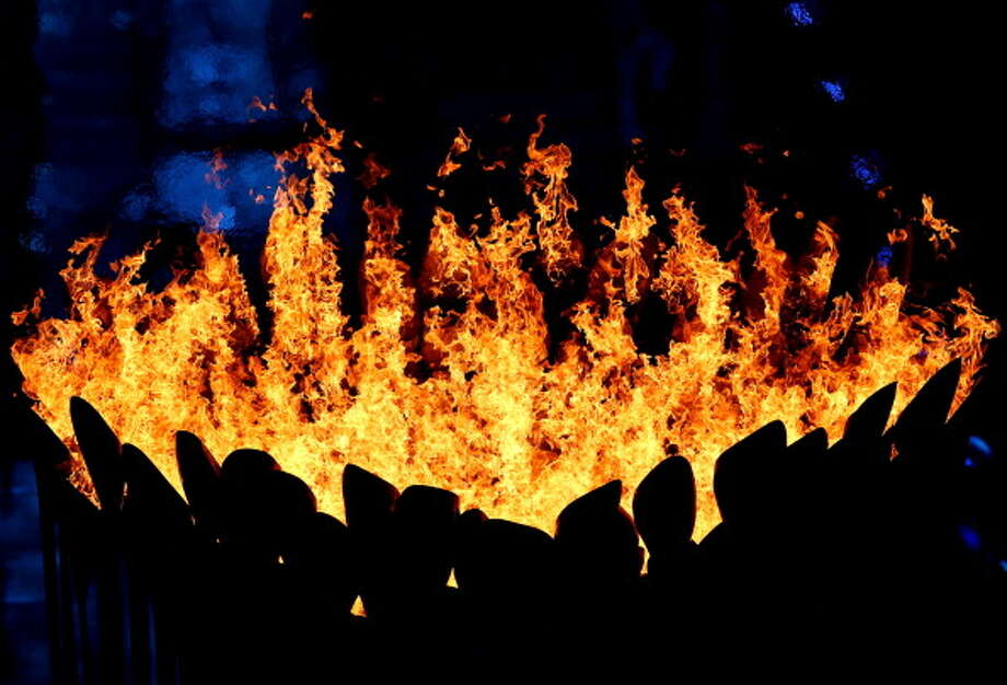 The Olympic Cauldron burns during the Closing Ceremony. Photo: Getty Images