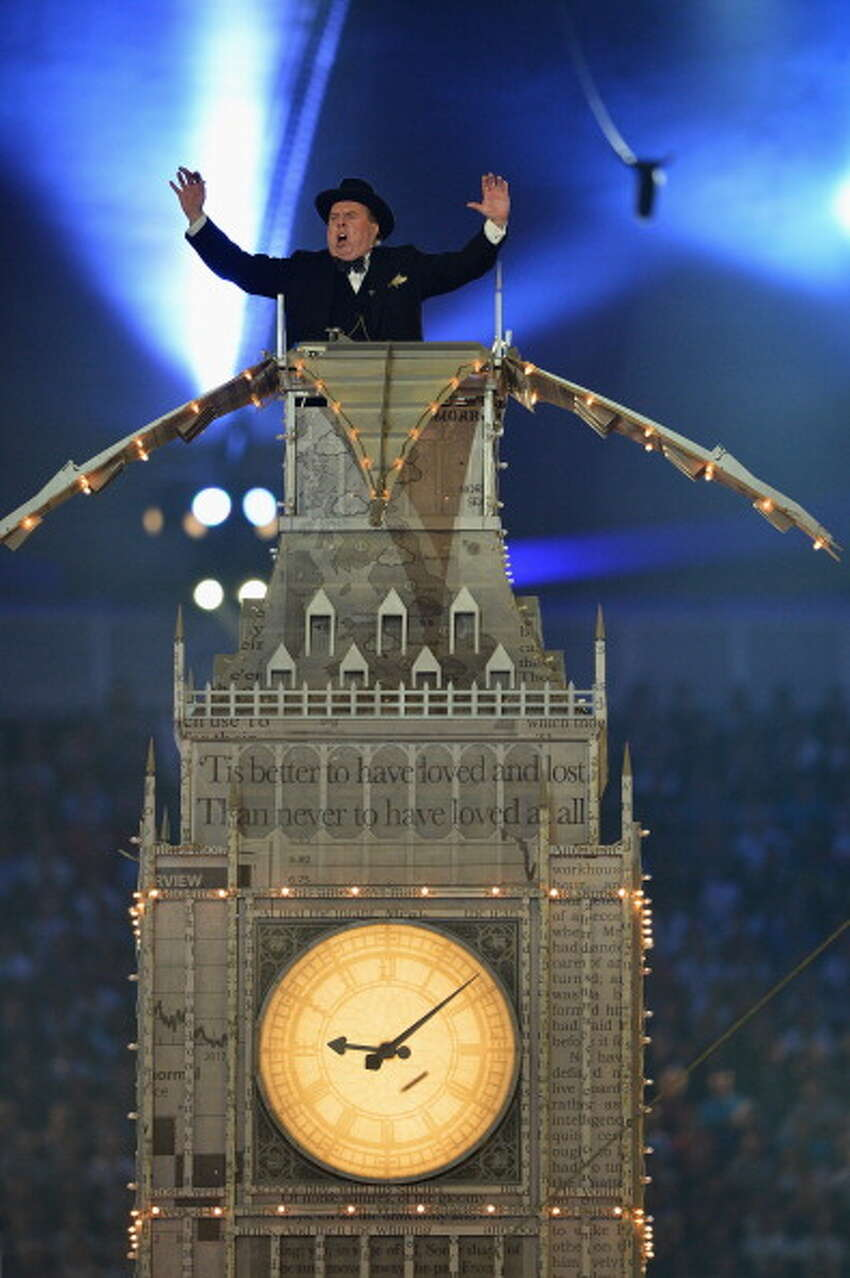 Actor Timothy Spall plays the part of Winston Churchill during the Closing Ceremony.