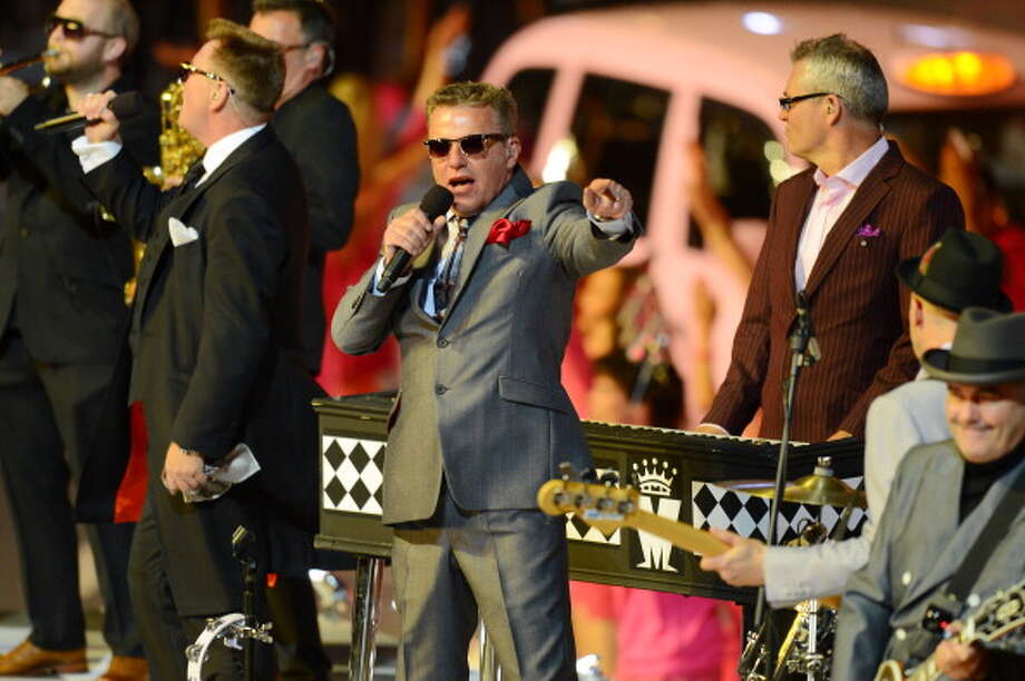Suggs and Madness perform during the Closing Ceremony. Photo: Getty Images