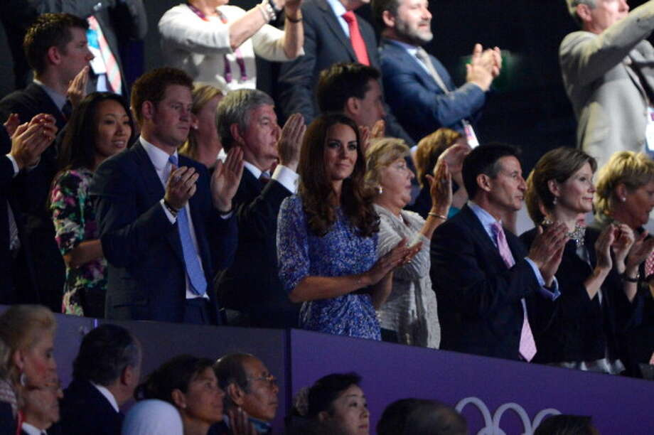 Prince Harry, Catherine, Duchess of Cambridge and Lord Sebastian Coe attend the Closing Ceremony. Photo: Getty Images