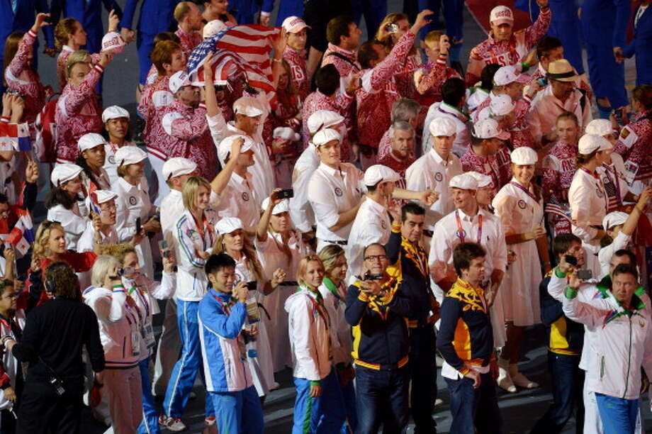 The United States team parades through the stadium during the Closing Ceremony. Photo: Getty Images