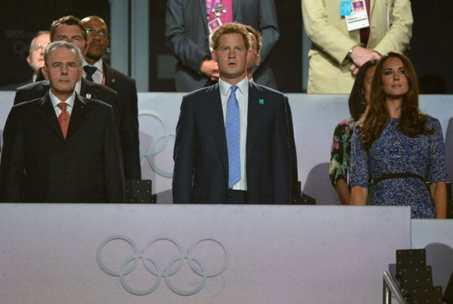International Olympic Committee president Jacques Rogge, Prince Harry and Catherine, Duchess of Cambridge look on during the Closing Ceremony. Photo: Getty Images