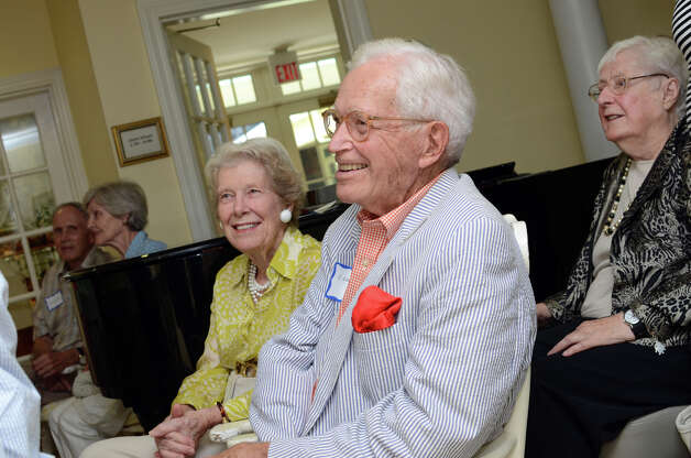 WWII veteran C. Lincoln Jewett and his wife Truda Jewett, of Darien, during the observation of the 67th anniversary of the end of WWII at Atria Senior Living in Darien on Sunday, Aug. 12, 2012. Photo: Amy Mortensen / Connecticut Post Freelance