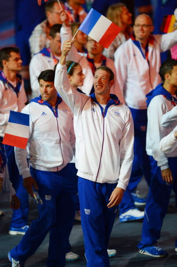 The French team parades through the stadium during the Closing Ceremony. Photo: Getty Images