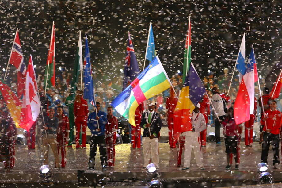 Athletes enter the stadium during the Closing Ceremony. Photo: Getty Images