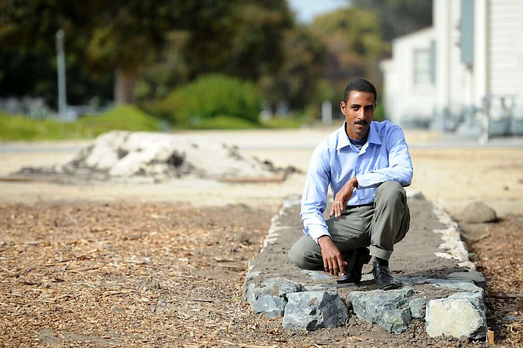 egyptian archaeological intern nabil fahmy poses for a photo in the presidio in san francisco on adobe tank san francisco ca