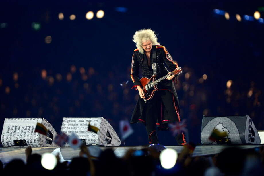 Brian May of Queen performs during the Closing Ceremony. Photo: Getty Images