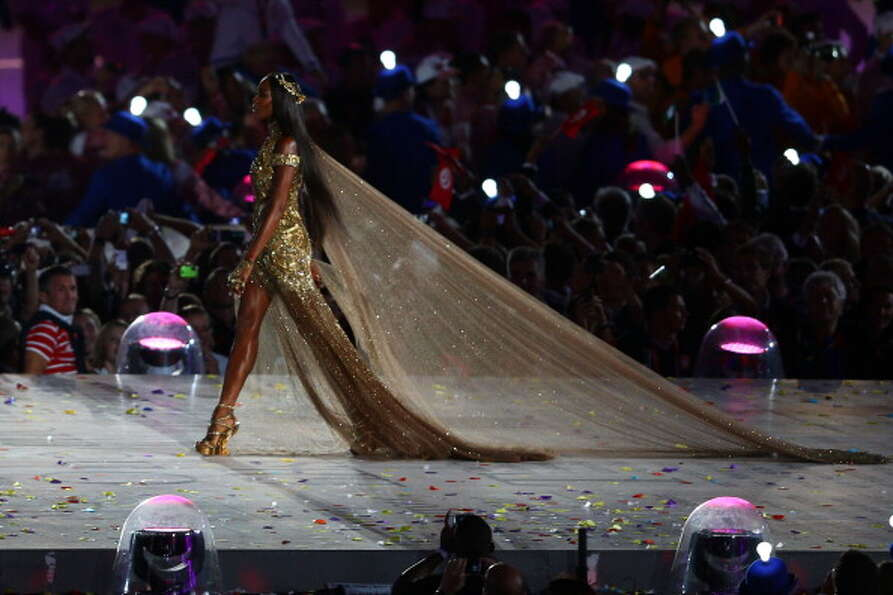 Naomi Campbell walks onstage during the Closing Ceremony.