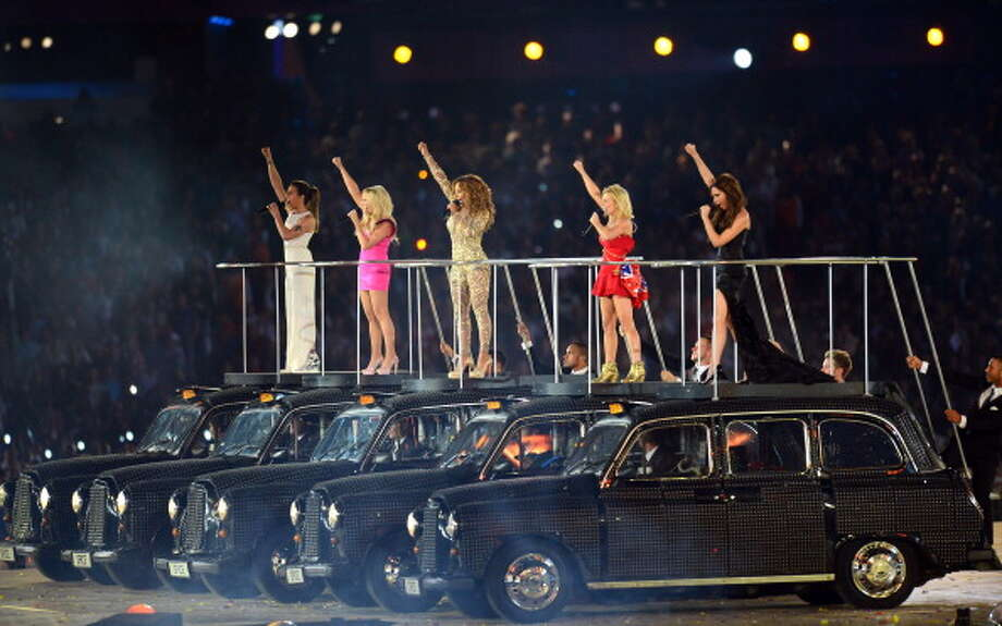 Melanie Chisholm, Emma Bunton, Melanie Brown, Geri Halliwell and Victoria Beckham of The Spice Girls perform during the Closing Ceremony. Photo: Getty Images