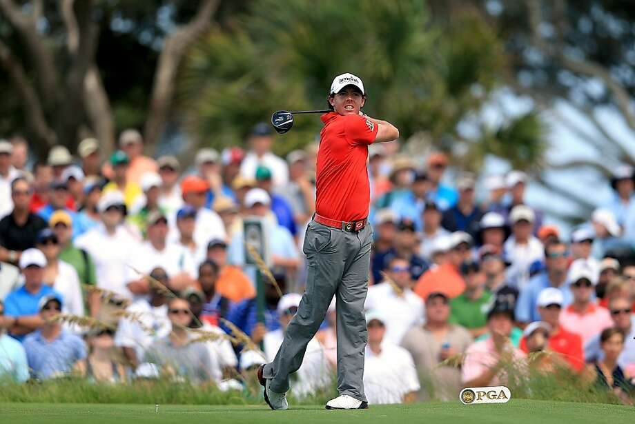 Rory McIlroy of Northern Ireland hits off the seventh tee during the Final Round of the 94th PGA Championship at the Ocean Course on August 12, 2012 in Kiawah Island, South Carolina.  (Photo by David Cannon/Getty Images) Photo: David Cannon, Getty Images