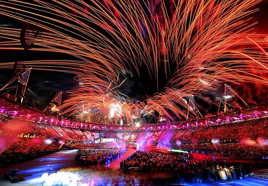 There were plenty of fireworks in the sky and on the stage Sunday night at the Olympic Closing Ceremony in London. Photo: Mike Hewitt, Getty Images