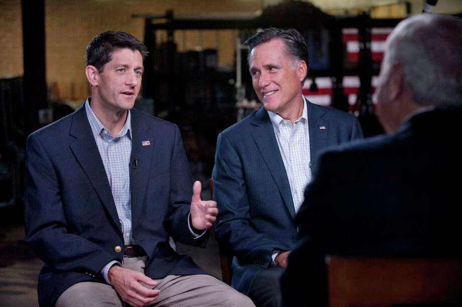 "GOP Presidential nominee Mitt Romney and his newly chosen VP running mate Paul Ryan, left, talk with Bob Schieffer of ""60 Minutes"" on CBS, Sunday, Aug. 12, 2012. (AP Photo/CBS News, Chris Usher) Photo: Chris Usher, Associated Press / CBS"