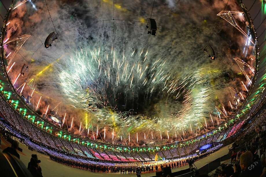 Fireworks lighten the Olympic stadium during the closing ceremony of the 2012 London Olympic Games in London on August 12, 2012. Rio de Janeiro will host the 2016 Olympic Games. AFP PHOTO/ JEWEL SAMADJEWEL SAMAD/AFP/GettyImages Photo: Jewel Samad, AFP/Getty Images