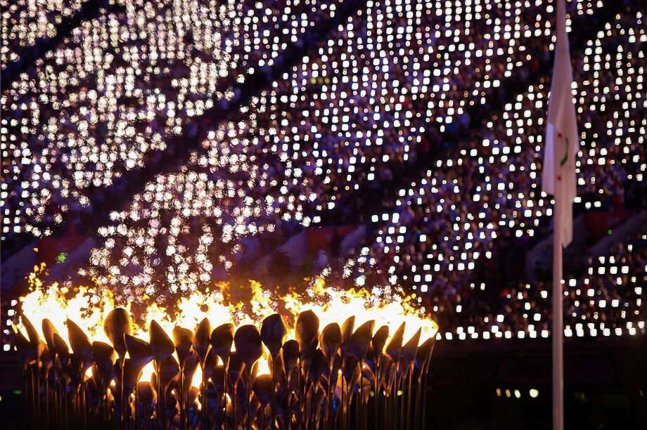 The Olympic cauldron is seen during the closing ceremony for the 2012 Summer Olympics on Sunday, Aug. 12, 2012, in London. ( Smiley N. Pool / Houston Chronicle) Photo: Smiley N. Pool / © 2012  Houston Chronicle