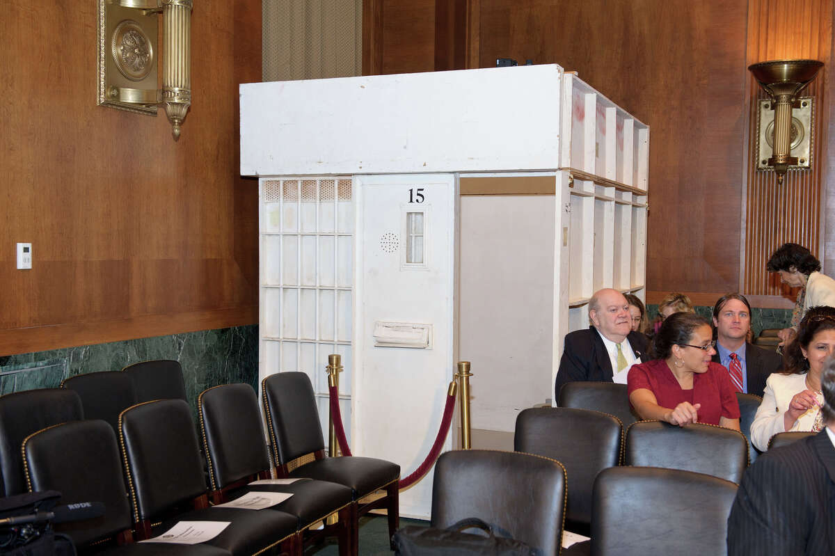 This cell replica was placed in the hearing room of a Senate panel on solitary confinement. (U.S. Senate)