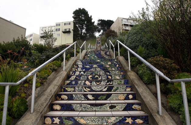 16th Avenue staircase: More than 300 neighbors put the mosaic together in 2005 as a gift to themselves, with funding from the San Francisco Parks Trust. Photo: Siana Hristova, The Chronicle