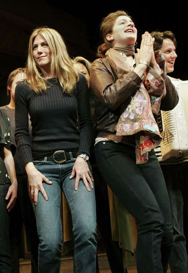 "Aniston  and Gaby Hoffman take a curtain call onstage at the 6th Annual ""24 Hour Plays on Broadway"" to benefit the Working Playground, Inc. at the American Airlines Theatre Oct. 23, 2006 in New York City. Photo: Evan Agostini, Getty / 2006 Getty Images"