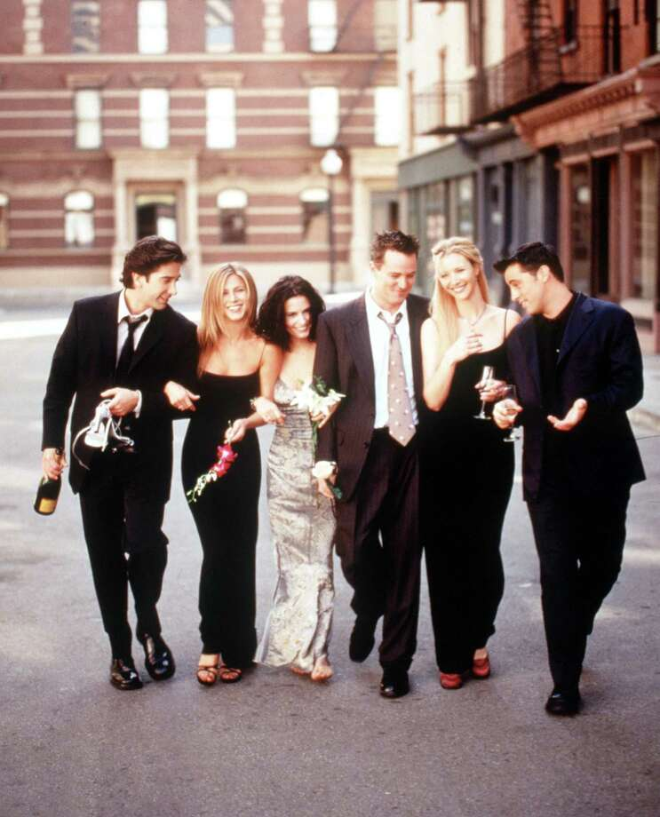 "The cast Of ""Friends"" from the 1999-2000 season: David Schwimmer, Aniston, Cox, Matthew Perry, Kudrow and Matt Leblanc. Photo: Getty Images, Getty / Getty Images North America"