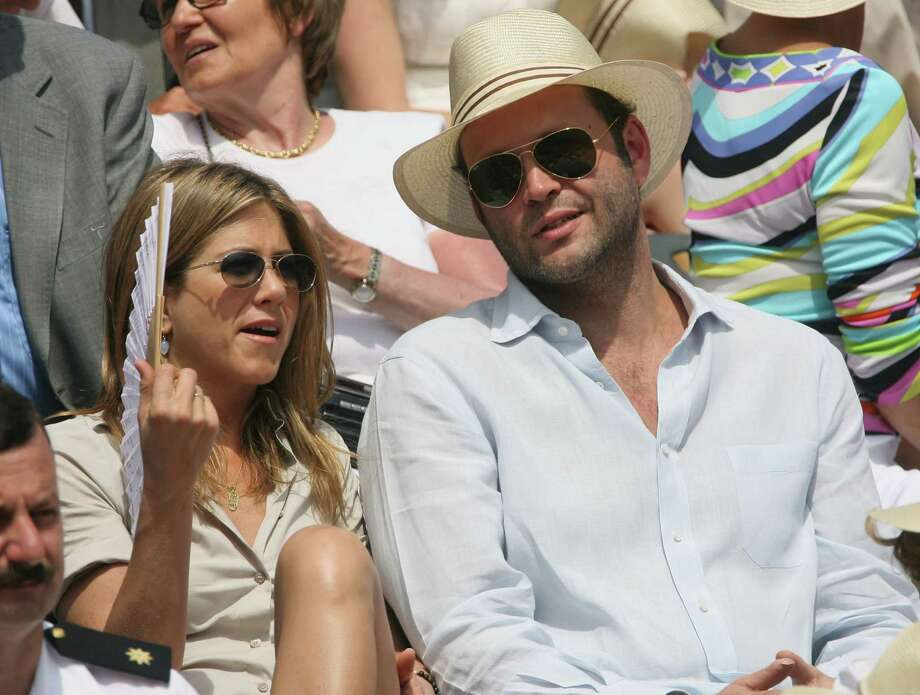 Aniston and actor Vince Vaughn attend the men's singles final between Roger Federer of Switzerland and Rafael Nadal of Spain during the French Open on June 11, 2006, in Paris, France. Their relationship ended in December 2006.  Photo: Clive Brunskill, Getty / 2006 Getty Images
