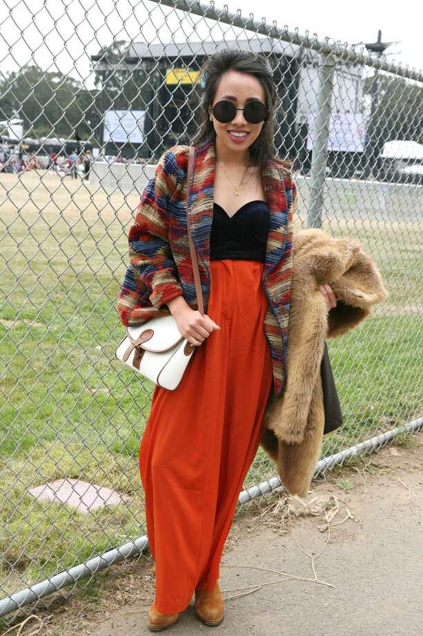 """Who:Stella Tran from San Jose Wearing: Parachute vintage pants, embroidered coat and fake wool coat all vintage from Savers (I go there ever few weeks), blue velvet top is from Urban Outsiders, earrings are from Nordstrom, shoes by Jeffrey Campbell, sunglasses from Jet Rag in West Hollywood during one of their dollar Sunday sales. Philosophy: """"I am all about vintage and thrifting!"""""""