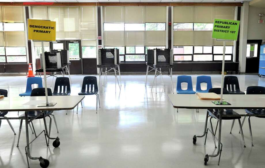 Broadview Middle School in Danbury is set up as a polling place for the Republican and Democratic primary, Monday, Aug. 13, 2012. Photo: Carol Kaliff / The News-Times