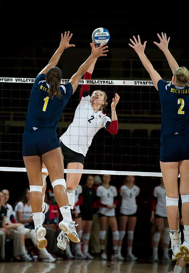 Stanford junior middle blocker Carly Wopat, twin of Sam Wopat, was an honorable mention All-American last season. Photo: John Todd, Stanford Athletics