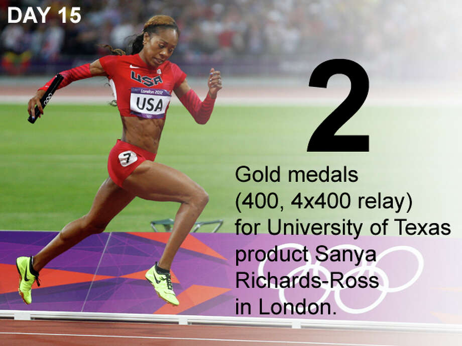 United States' Sanya Richards-Ross leads to win in the women's 4 x 400-meter relay during the athletics in the Olympic Park during the 2012 Summer Olympics, Saturday, Aug. 11, 2012, in London. Photo: Jon Super / Associated Press; San Antonio Express-News Photo Illustration / AP