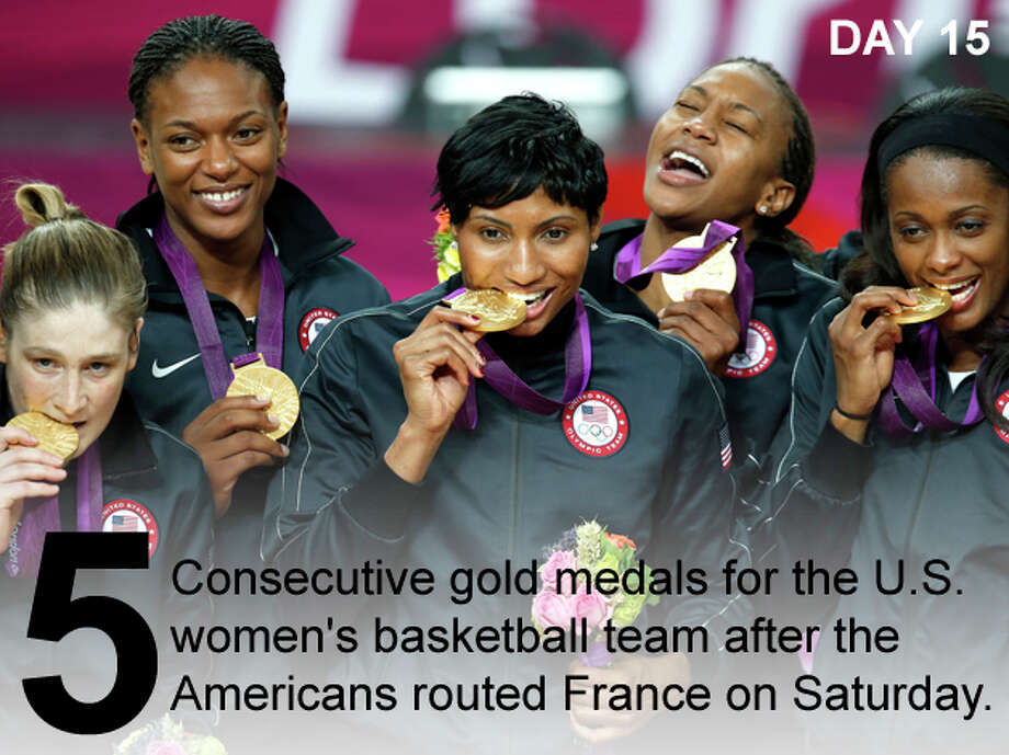 United States women's basketball players pose for a photo after the medal ceremony at the 2012 Summer Olympics, Saturday, Aug. 11, 2012, in London. The U.S. beat France 86-50 in the gold medal game. Photo: Julio Cortez / Associated Press; San Antonio Express-News Photo Illustration / AP