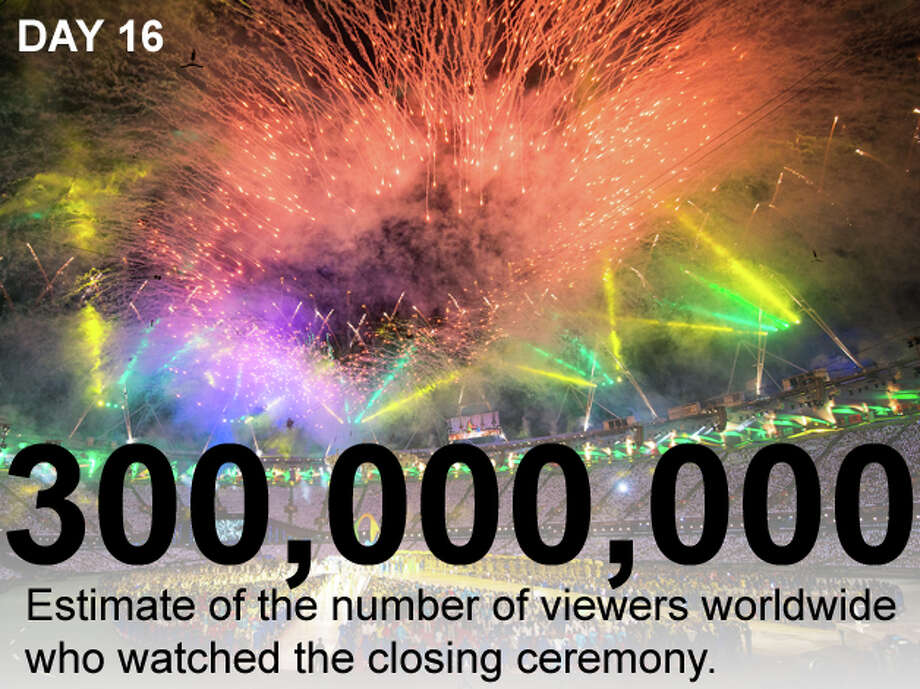 Fireworks explode over the stadium during the Rio de Janeiro presentation during the closing ceremony for the 2012 Summer Olympics on Sunday, Aug. 12, 2012, in London. Photo: Smiley N. Pool / Houston Chronicle; San Antonio Express-News Photo Illustration / © 2012  Houston Chronicle