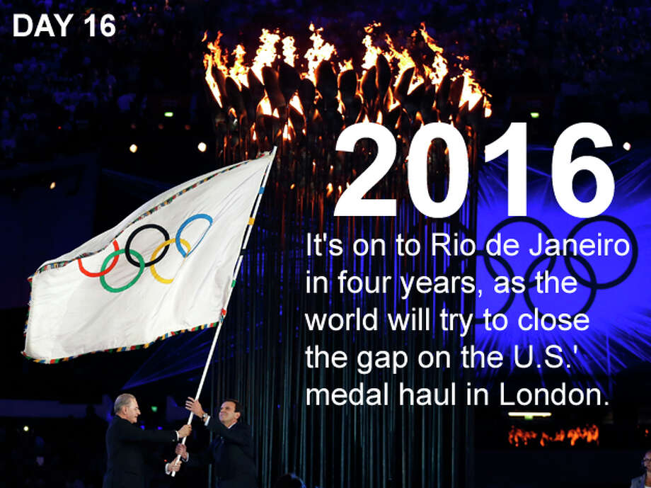 President of the International Olympic Committee Jacques Rogge, left, hands the Olympic flag to Rio de Janeiro's mayor Eduardo Paes during the Closing Ceremony at the 2012 Summer Olympics, Sunday, Aug. 12, 2012, in London. Photo: Matt Dunham / Associated Press; San Antonio Express-News Photo Illustration / AP