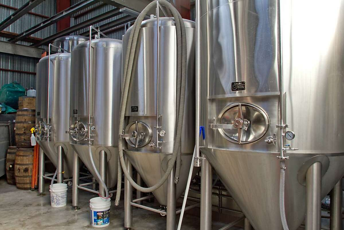 The brewing tanks at the Southern Pacific Brewing Company in San Francisco, Calif., are seen on Wednesday, June 13th, 2012.