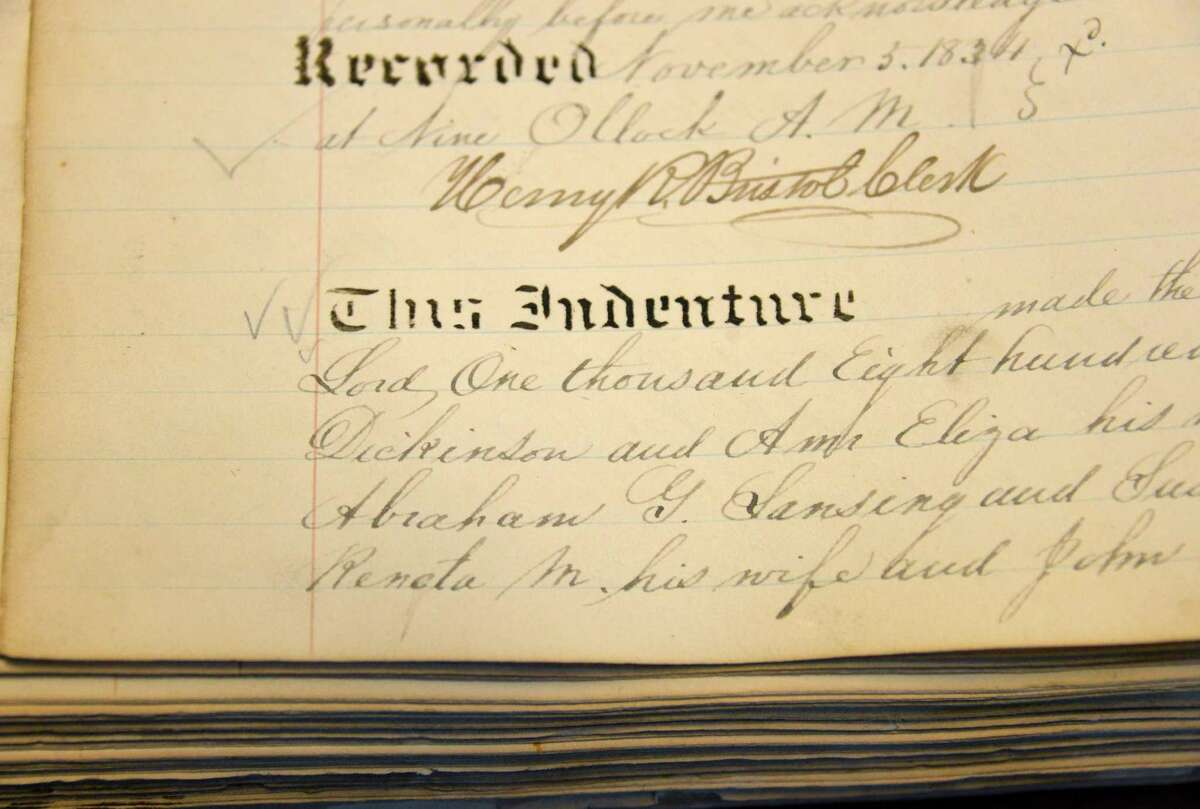 Original deeds to the properties owned by the Lansing family 178 years ago at the Rensselaer County Clerk's office in Troy Wednesday Aug. 8, 2012. (John Carl D'Annibale / Times Union)