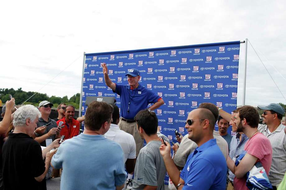 New York Giants head coach Tom Coughlin talks to the media at the end of practice during preseason training camp at UAlbany on Monday Aug. 13, 2012 in Albany, N.Y. (Dan Little/Special to the Times Union) Photo: Dan Little / Copyright: All Rights Reserved Brett Carlsen