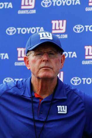 New York Giants head coach Tom Coughlin talks to the media at the end of practice during preseason training camp at UAlbany on Monday Aug. 13, 2012 in Albany, N.Y. (Dan Little/Special to the Times Union) Photo: Dan Little / 00018767D