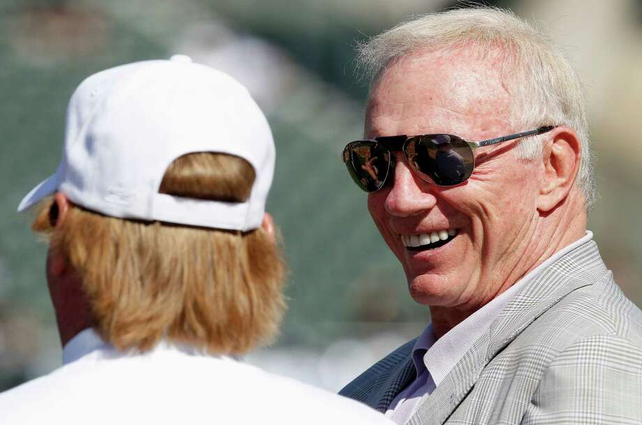 Dallas Cowboys owner Jerry Jones, right, talks with Oakland Raiders owner Mark Davis before an NFL preseason football game in Oakland, Calif., Monday, Aug. 13, 2012. (AP Photo/Tony Avelar) Photo: Tony Avelar, Associated Press / FR155217 AP