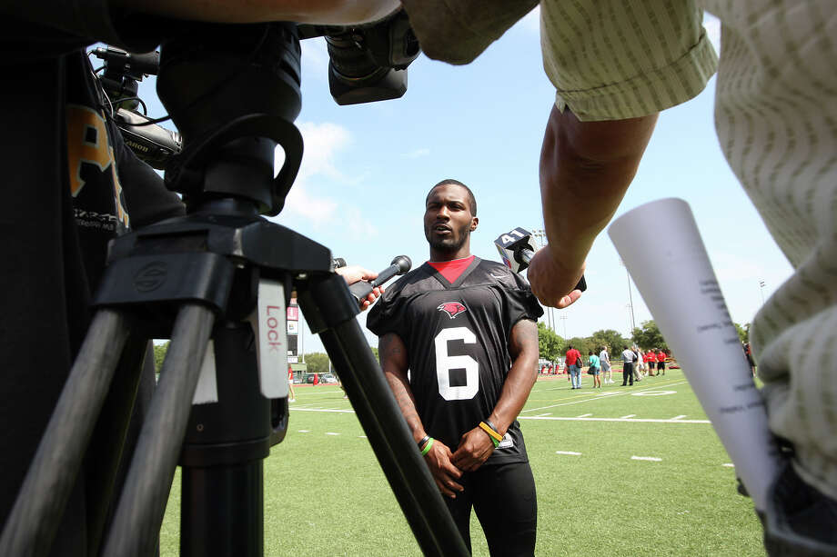 The University of the Incarnate Word Cardinals running back Marcush Wright is interviewed during media day at Benson Stadium, Monday, Aug. 13, 2012. Photo: Jerry Lara, San Antonio Express-News / © 2012 San Antonio Express-News