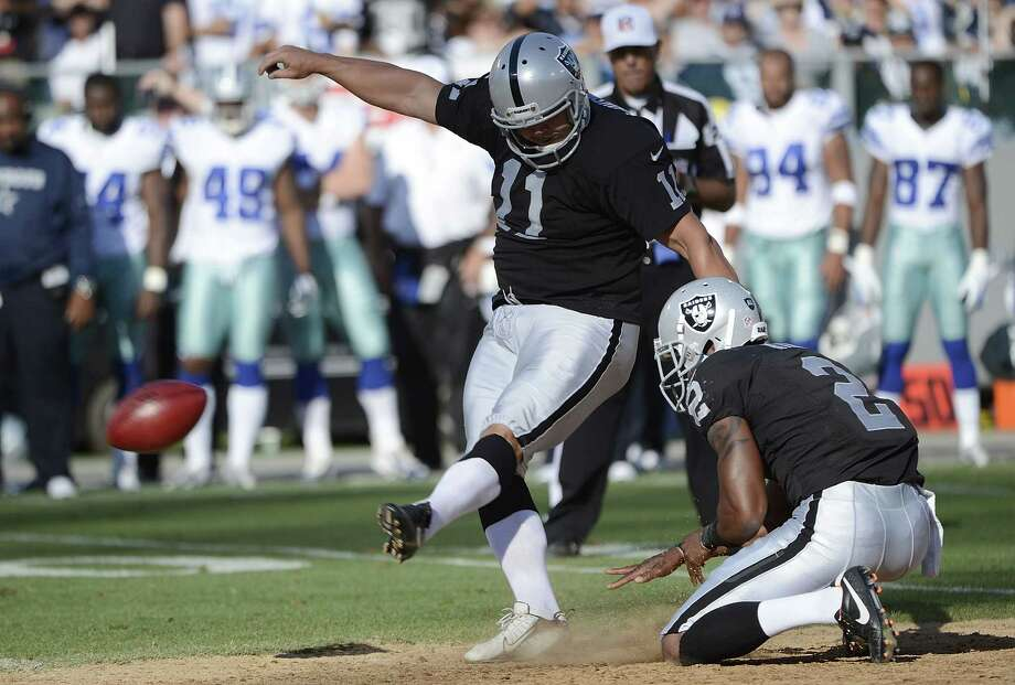 Sebastian Janikowski #11 of the Oakland Raiders misses a forty seven yard fieldgoal attempt against the Dallas Cowboys in the second quarter of an NFL pre-season football game at O.co Coliseum on August 13, 2012 in Oakland, California. Photo: Thearon W. Henderson, Getty Images / 2012 Getty Images