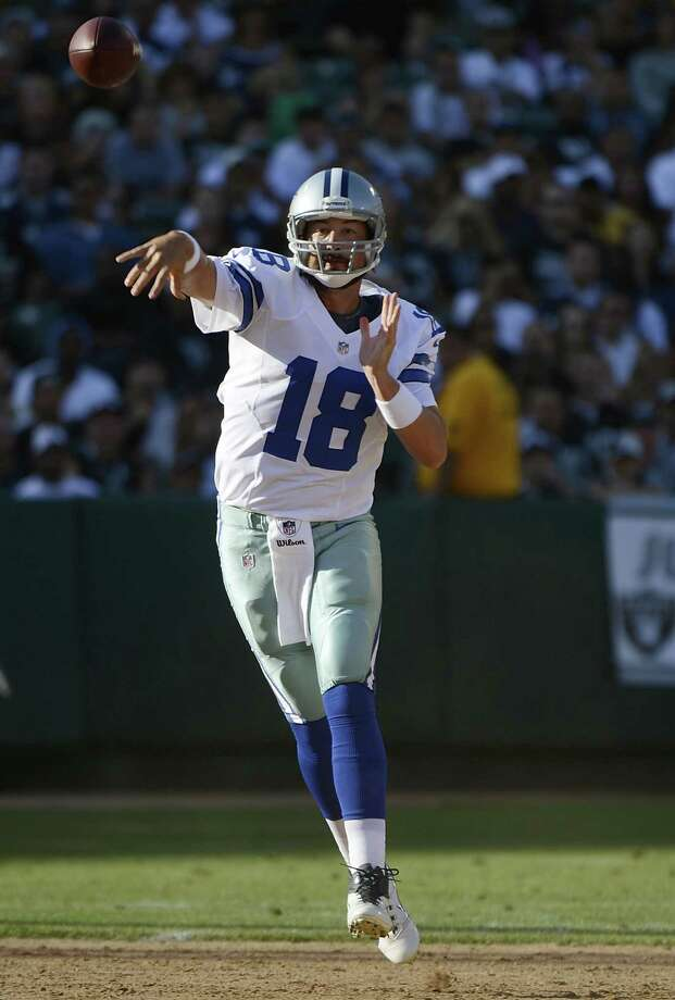 Kyle Orton #18 of the Dallas Cowboys throws a pass against the Oakland Raiders in the second quarter of an NFL pre-season football game at O.co Coliseum on August 13, 2012 in Oakland, California. Photo: Thearon W. Henderson, Getty Images / 2012 Getty Images