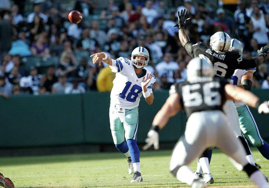 Dallas Cowboys quarterback Kyle Orton (18) passes against the Oakland Raiders during the first half of an NFL preseason football game in Oakland, Calif., Monday, Aug. 13, 2012. (AP Photo/Tony Avelar) Photo: Tony Avelar, Associated Press / FR155217 AP