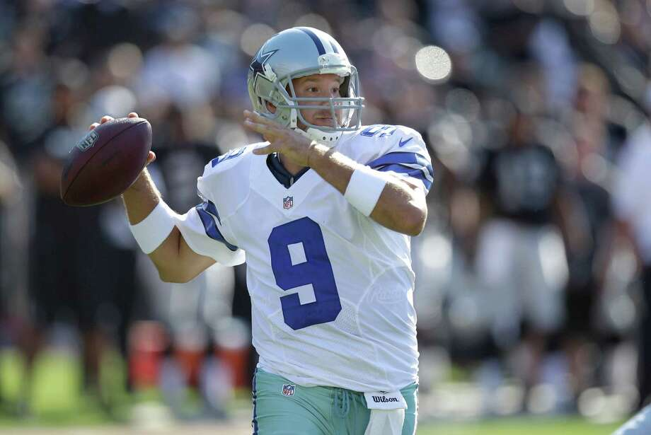 Dallas Cowboys quarterback Tony Romo (9) passes against the Oakland Raiders during the first half of an NFL preseason football game in Oakland, Calif., Monday, Aug. 13, 2012. (AP Photo/Ben Margot) Photo: Ben Margot, Associated Press / AP