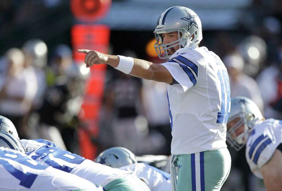 Dallas Cowboys quarterback Kyle Orton (18) calls a play during the first half of an NFL preseason football game against the Oakland Raiders in Oakland, Calif., Monday, Aug. 13, 2012. (AP Photo/Ben Margot) Photo: Ben Margot, Associated Press / AP