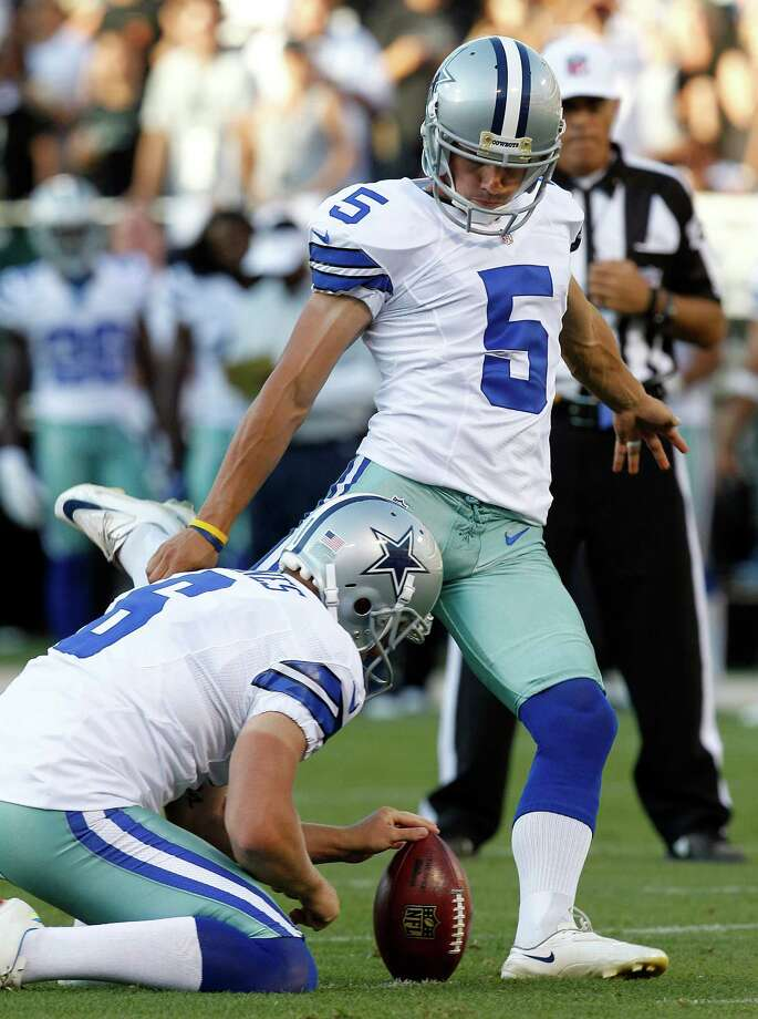 Dallas Cowboys kicker Dan Bailey (5) kicks a field goal from as Chris Jones holds during the second half of an NFL preseason football game against the Oakland Raiders in Oakland, Calif., Monday, Aug. 13, 2012. (AP Photo/Tony Avelar) Photo: Tony Avelar, Associated Press / FR155217 AP