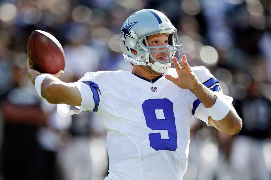 Dallas Cowboys quarterback Tony Romo (9) passes against the Oakland Raiders during the first quarter of an NFL preseason football game in Oakland, Calif., Monday, Aug. 13, 2012. (AP Photo/Ben Margot) Photo: Ben Margot, Associated Press / AP