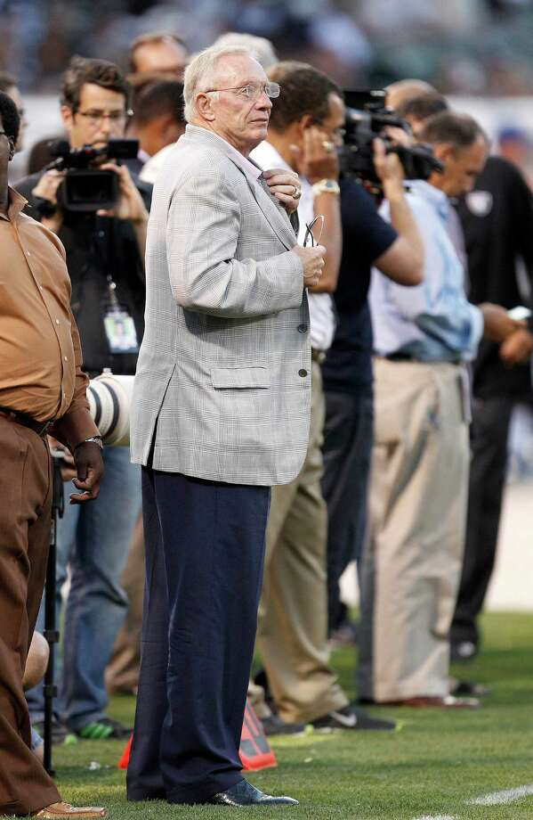 Dallas Cowboys owner Jerry Jones watches an NFL preseason football game against the Oakland Raiders in Oakland, Calif., Monday, Aug. 13, 2012.(AP Photo/Tony Avelar) Photo: Tony Avelar, Associated Press / FR155217 AP