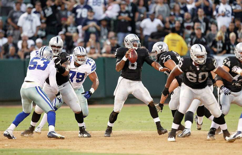 Oakland Raiders quarterback Terrelle Pryor (6) passes against the Dallas Cowboys during the second half of an NFL preseason football game in Oakland, Calif., Monday, Aug. 13, 2012.(AP Photo/Tony Avelar) Photo: Tony Avelar, Associated Press / FR155217 AP