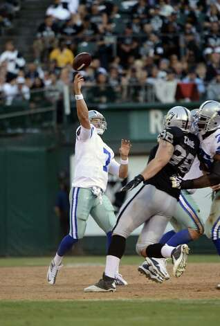 Stephen McGee #7 of the Dallas Cowboys throws a pass against the Oakland Raiders in the third quarter of an NFL pre-season football game at O.co Coliseum on August 13, 2012 in Oakland, California. The Cowboys won the game 3-0. Photo: Thearon W. Henderson, Getty Images / 2012 Getty Images