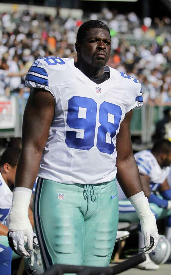 Dallas Cowboys defensive end Clifton Geathers (98) before an NFL preseason football game against the Oakland Raiders in Oakland, Calif., Monday, Aug. 13, 2012. (AP Photo/Ben Margot) Photo: Ben Margot, Associated Press / AP
