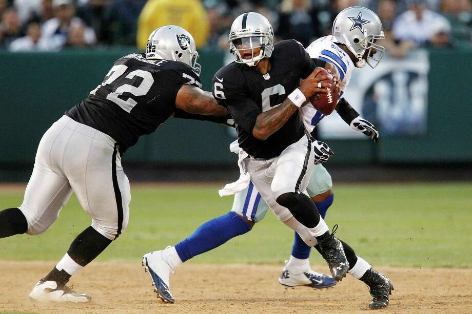 Oakland Raiders quarterback Terrelle Pryor (6) scrambles against the Dallas Cowboys during the second half of an NFL preseason football game in Oakland, Calif., Monday, Aug. 13, 2012. The Cowboys won 3-0. (AP Photo/Tony Avelar) Photo: Tony Avelar, Associated Press / FR155217 AP